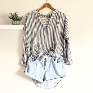 Lori + Mari High-Low Striped Tunic